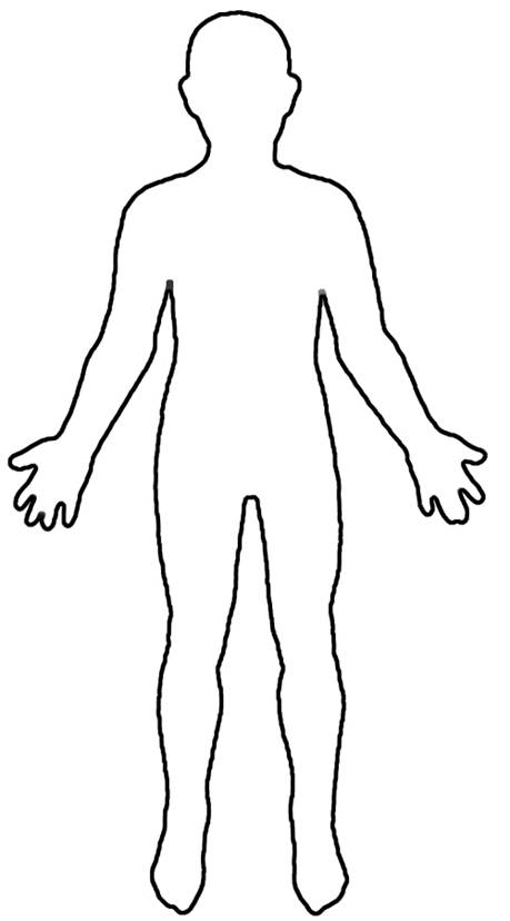 ... print out a handful of copies of human body outlines, like this one